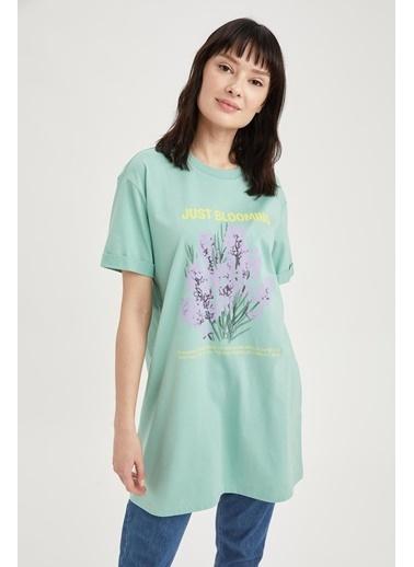 DeFacto Relax Fit Yazı Baskılı Tunik T-shirt Yeşil